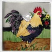 Hand Crafted Ceramic Art Tile Rooster